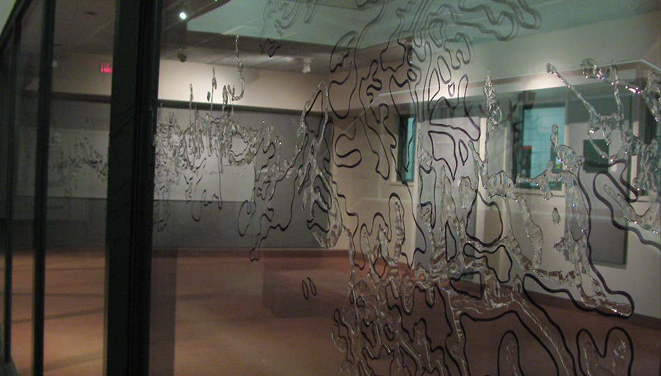 Installation at Robert Langon Art Gallery, Wilfrid Laurier University, Waterloo by artist Soheila Esfahani